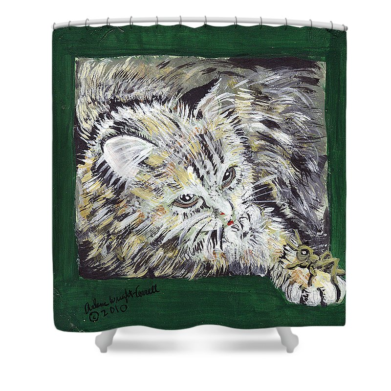 Cat Shower Curtain featuring the mixed media Tabby Cat With Cricket Trinket Box by Arlene Wright-Correll