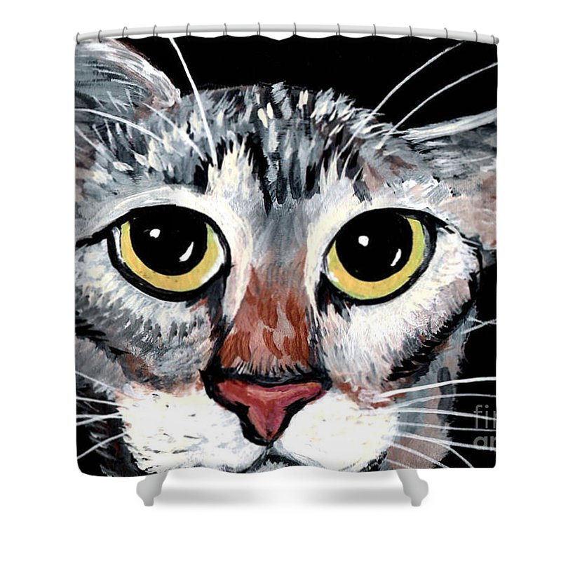 Cat Shower Curtain featuring the painting Tabby Eyes by Elaine Hodges