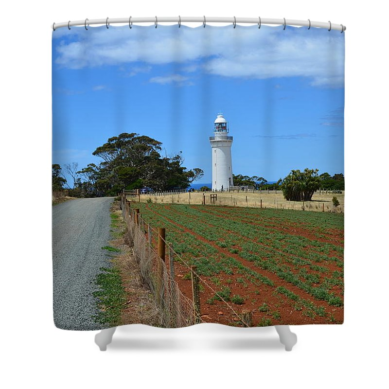 Landscape Shower Curtain featuring the photograph Table Cape Lighthouse by Lyle Barker