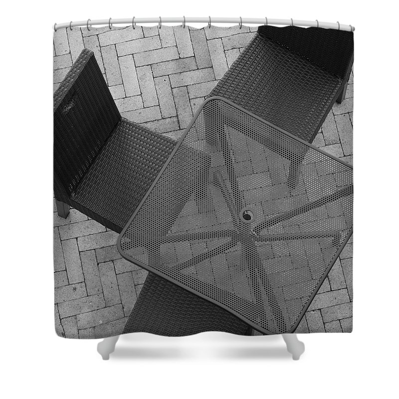 Table Shower Curtain featuring the photograph Table Chairs From Above by Rob Hans