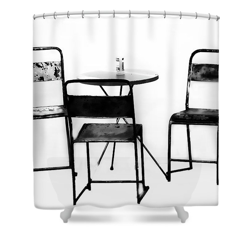 Minimalism Shower Curtain featuring the photograph Table For Three by Sheila Smart Fine Art Photography