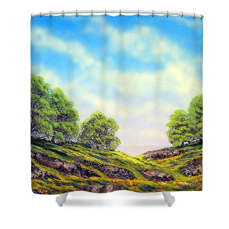 Mountains Shower Curtain featuring the painting Table Mountain by Frank Wilson
