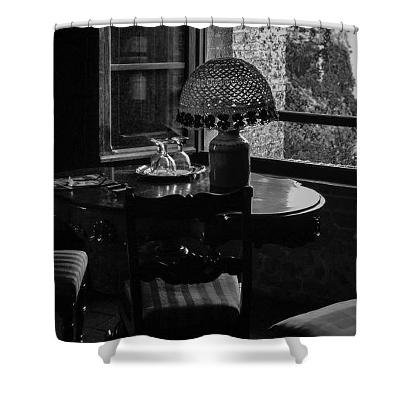 Black & White Shower Curtain featuring the photograph Table Setting Still Life by Joseph Yvon Cote