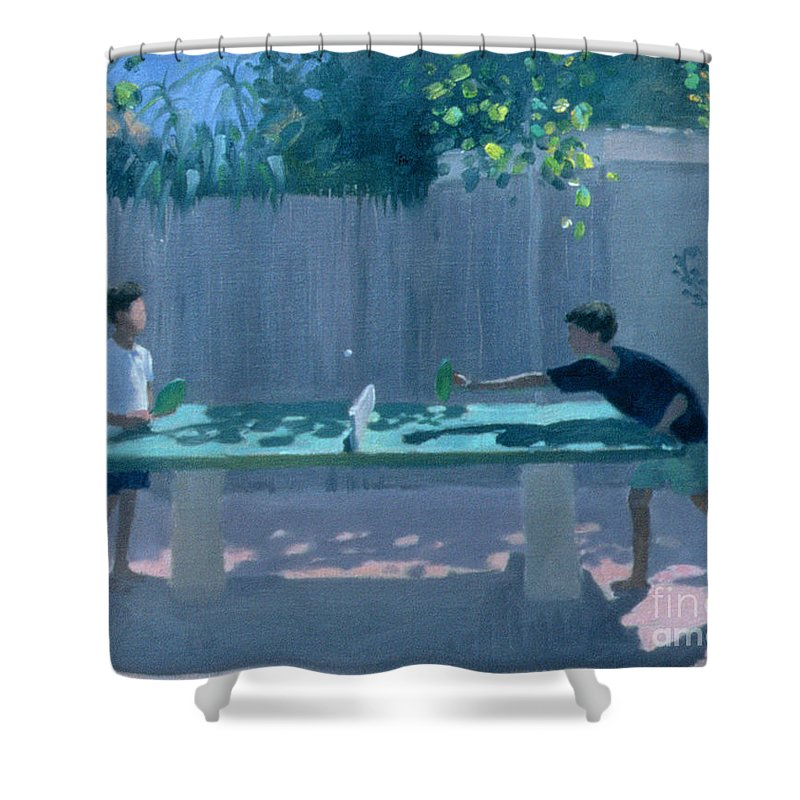 Ping Pong Shower Curtain featuring the painting Table Tennis by Andrew Macara