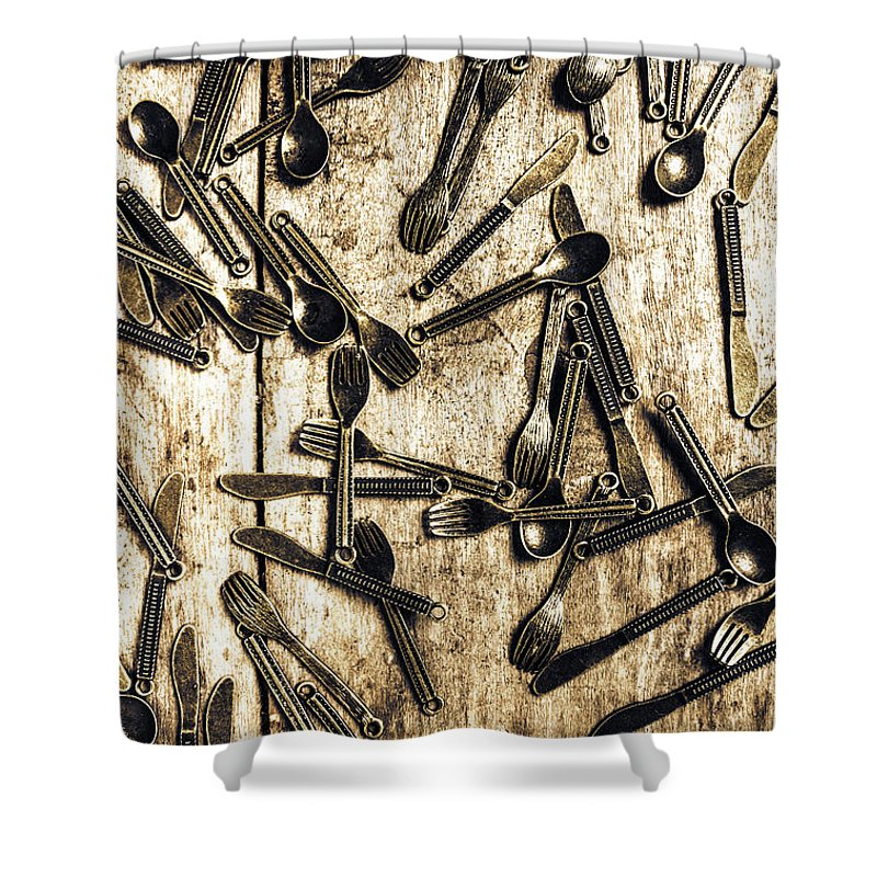 Kitchen Shower Curtain featuring the photograph Tableware Abstract by Jorgo Photography - Wall Art Gallery
