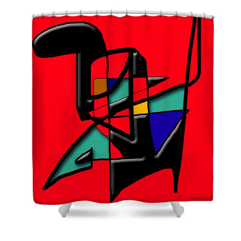 Modern Shower Curtain featuring the digital art Tactile Space  II  by Stephen Lucas