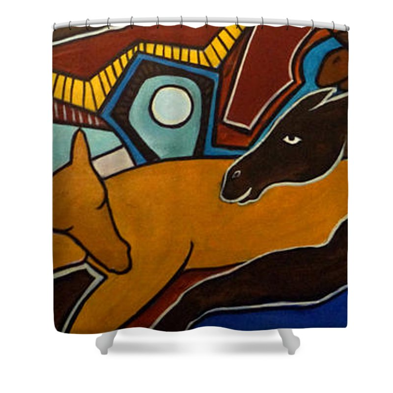 Horse Abstract Shower Curtain featuring the painting Taffy Horses by Valerie Vescovi