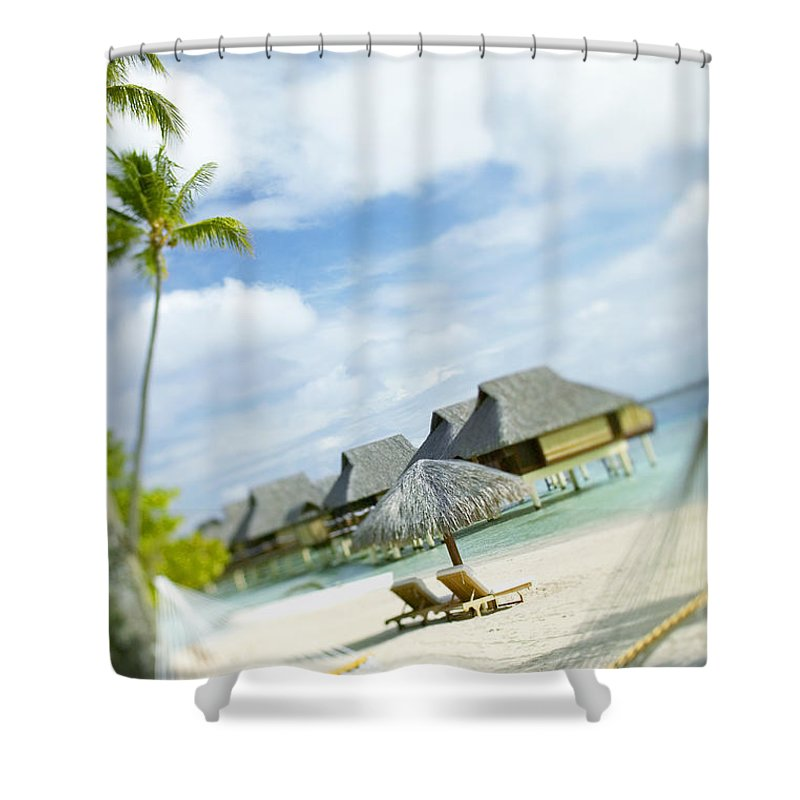10-pfs0158 Shower Curtain featuring the photograph Tahiti, Bora Bora by Kyle Rothenborg - Printscapes