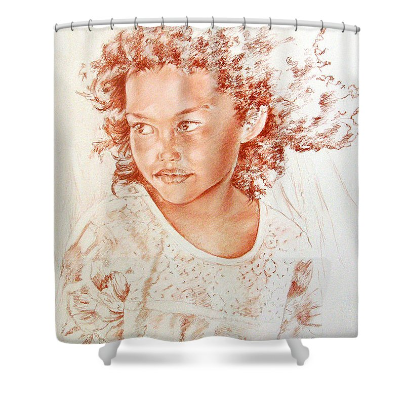Drawing Persons Shower Curtain featuring the painting Tahitian Girl by Miki De Goodaboom
