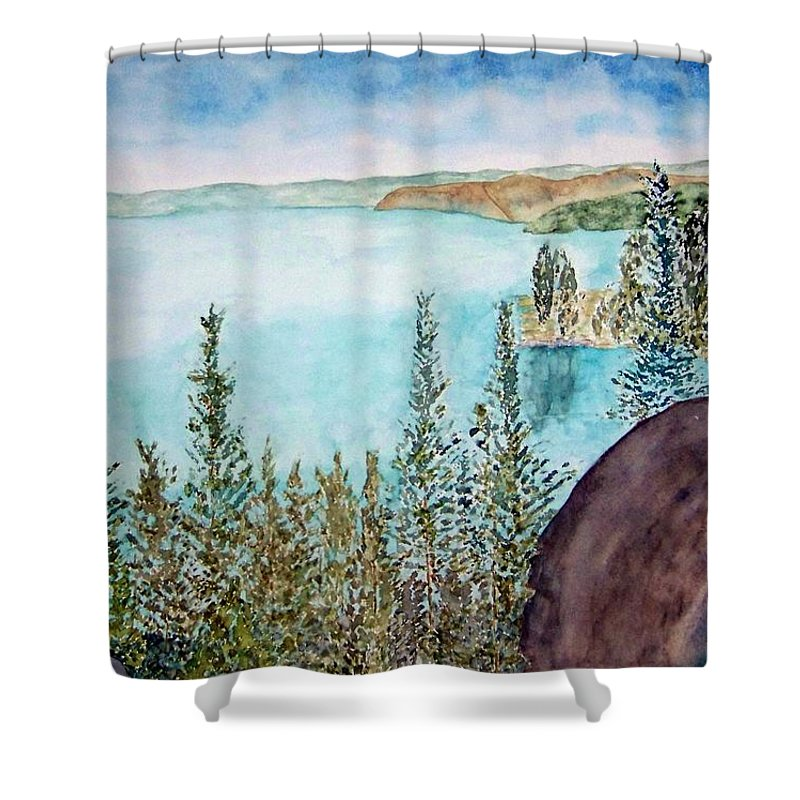 Tahoe Shower Curtain featuring the painting Tahoe Remembered by Larry Wright