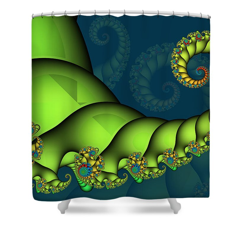 Fractal Shower Curtain featuring the digital art Tail Deluxe by Jutta Maria Pusl