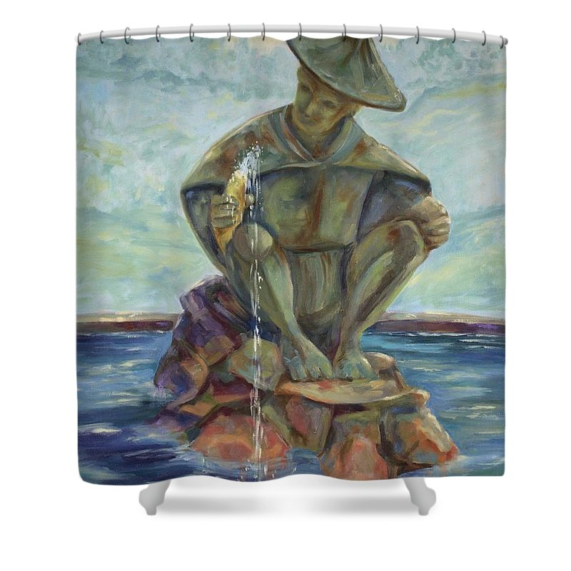 Landscape Shower Curtain featuring the painting Taipei Fountain by Ginger Concepcion