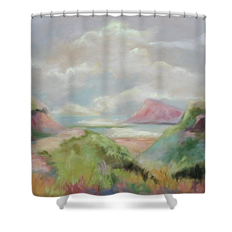 Seascape Shower Curtain featuring the painting Taiwan Inlet by Ginger Concepcion