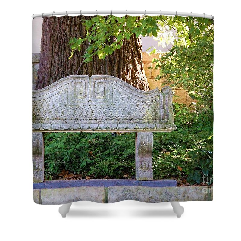 Bench Shower Curtain featuring the photograph Take A Break by Debbi Granruth