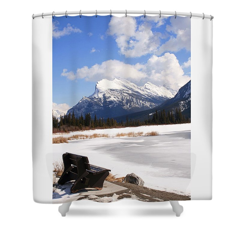 Vermillion Lake Shower Curtain featuring the photograph Take A Seat At Vermillion Lake by Tiffany Vest