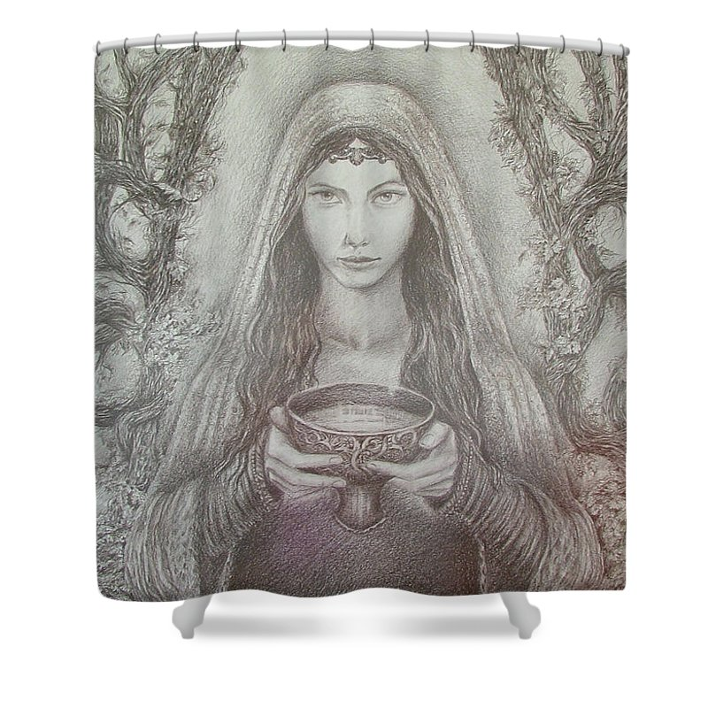 Girl Shower Curtain featuring the drawing Take A Bowl Of Your Happiness by Rita Fetisov