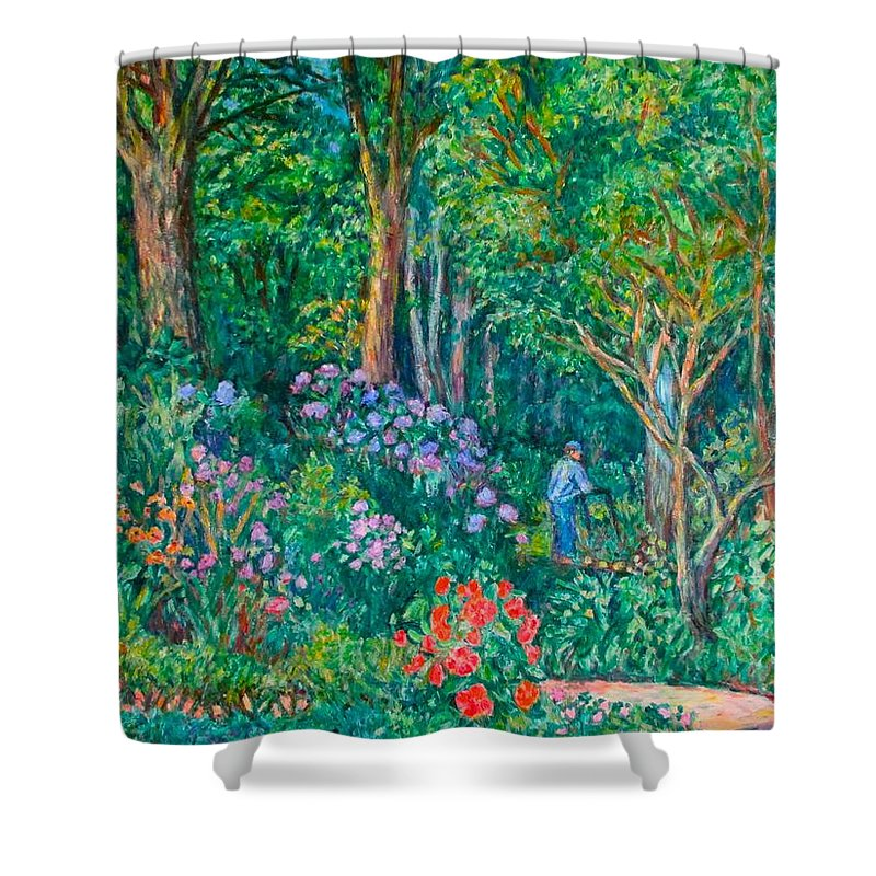 Suburban Paintings Shower Curtain featuring the painting Taking A Break by Kendall Kessler