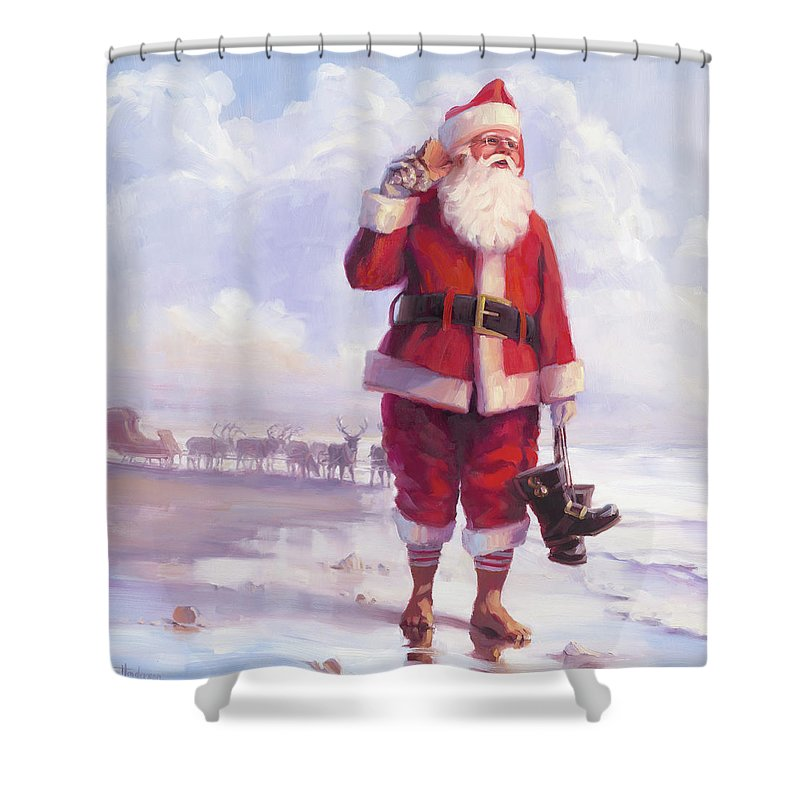 Christmas Shower Curtain featuring the painting Taking A Break by Steve Henderson