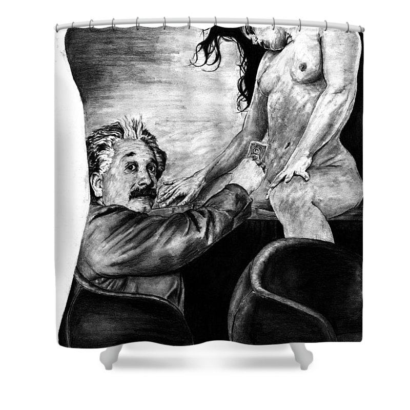 Portrait Girl Woman Charcoal Art Traditional Life 2d Nude Naked Beautiful Albert Einstein Strip Club Shower Curtain featuring the drawing Taking A Day Off by Priscilla Vogelbacher