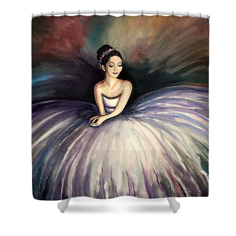 Ballerina Shower Curtain featuring the painting Taking A Moment by Elizabeth Robinette Tyndall