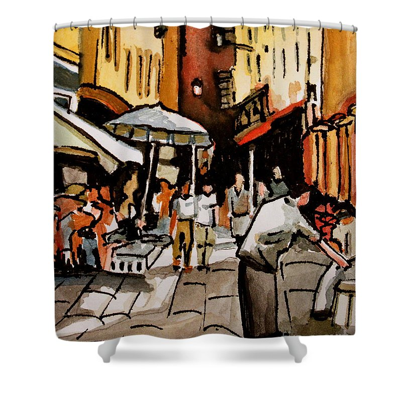 Downtown Shower Curtain featuring the painting Taking A Stroll Through Downtown by Elizabeth Robinette Tyndall