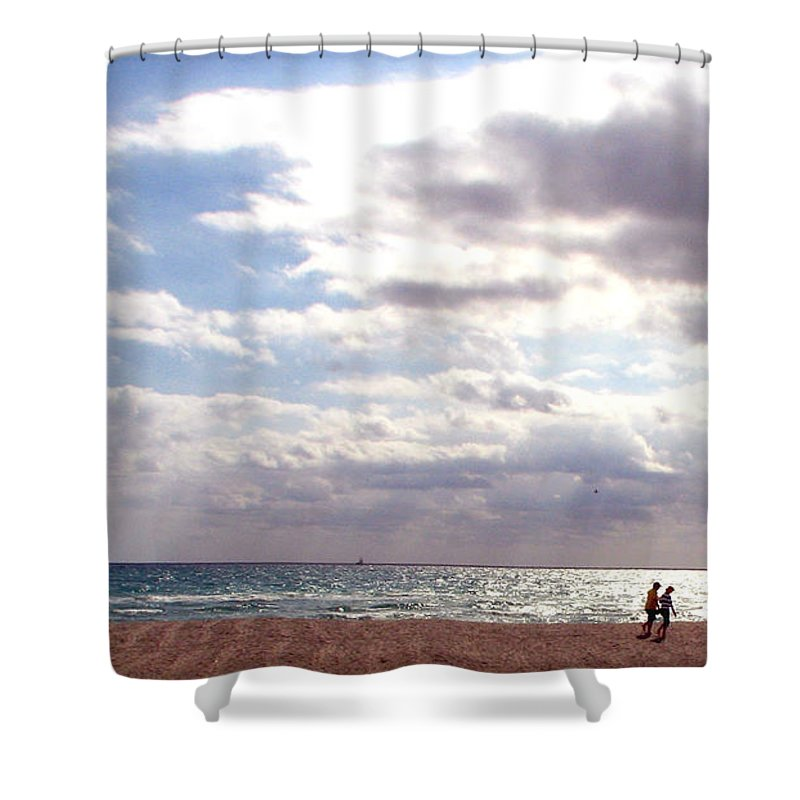 Walking Shower Curtain featuring the photograph Taking A Walk by Amanda Barcon