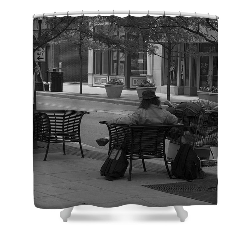 Black And White Shower Curtain featuring the photograph Taking It Easy by Michael Colgate