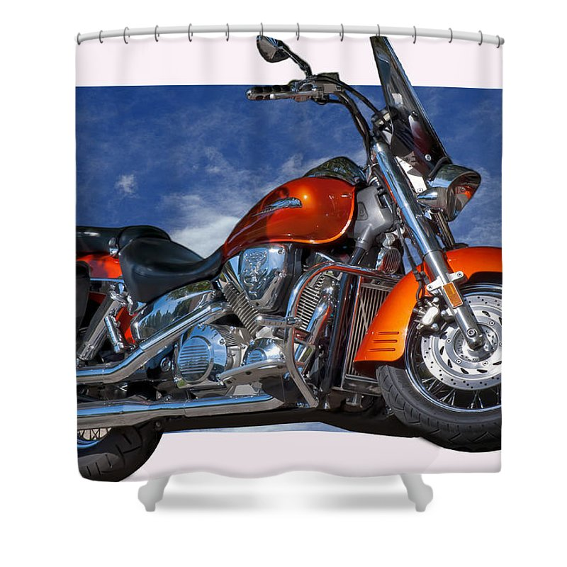 Motorcycles Shower Curtain featuring the photograph Tak'n The High Road by Gary Adkins