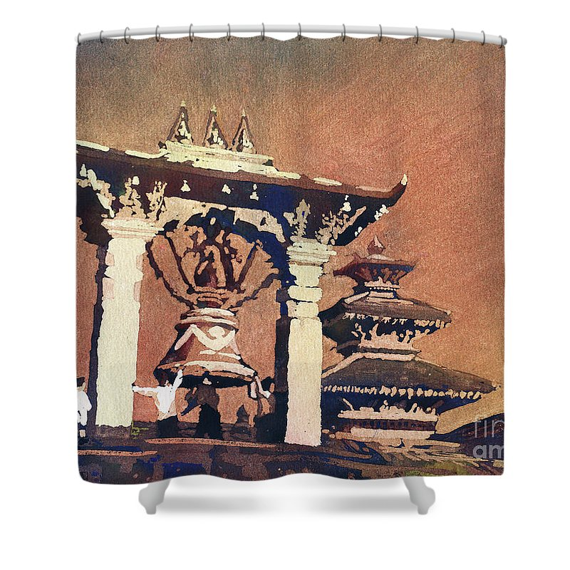 Nepal City Shower Curtain featuring the painting Taleju Bell- Patan, Nepal by Ryan Fox
