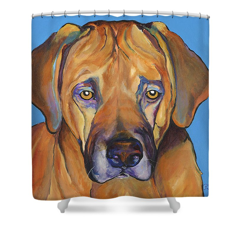 Rhodesian Ridgeback Dog Ridgeback African Colorful Orange Gold Yellow Red Shower Curtain featuring the painting Talen by Pat Saunders-White