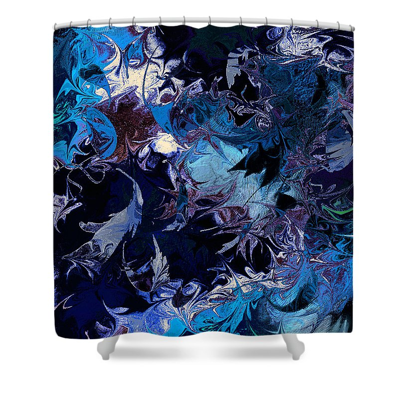 Abstract Shower Curtain featuring the digital art Tales in a Moonlit Wood by William Russell Nowicki