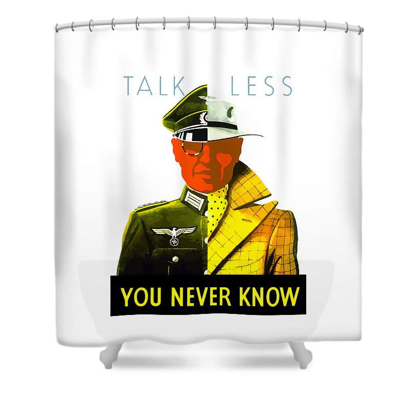 World War Ii Shower Curtain featuring the painting Talk Less You Never Know by War Is Hell Store