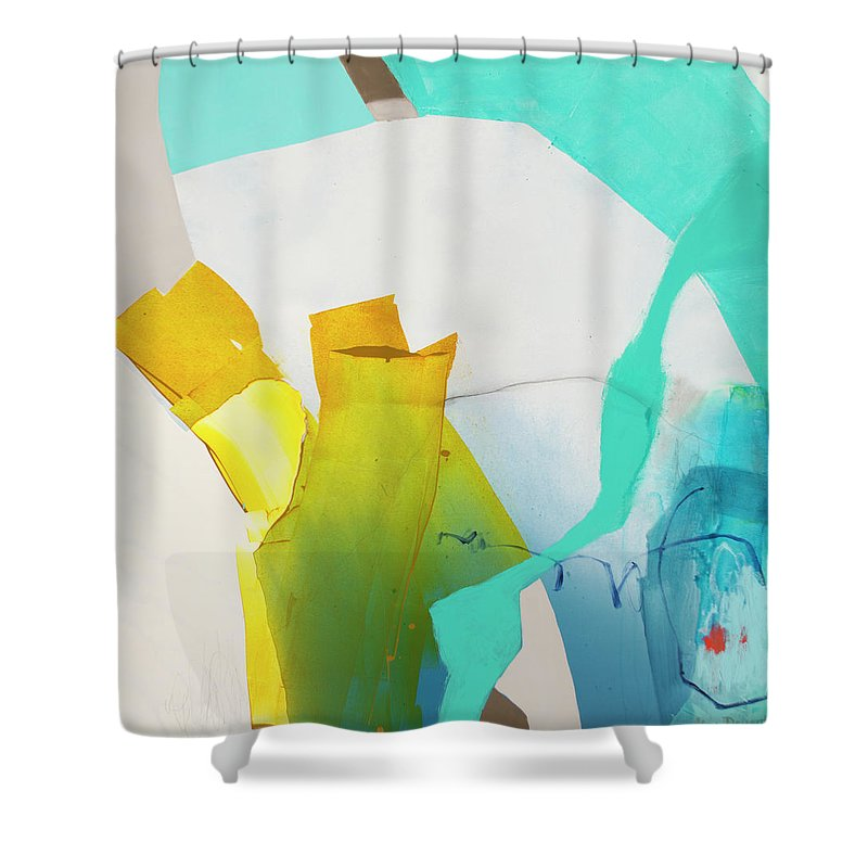 Abstract Shower Curtain featuring the painting Talking To Myself by Claire Desjardins