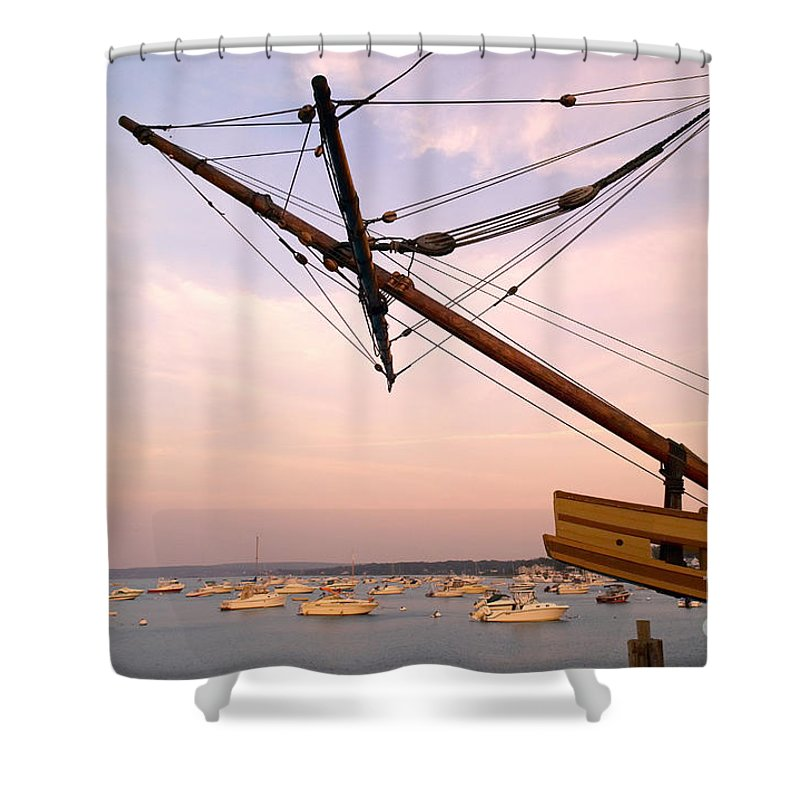 Mayflower Ii Shower Curtain featuring the photograph Tall Ship Mayflower II In Plymouth Massachusetts by Matt Suess