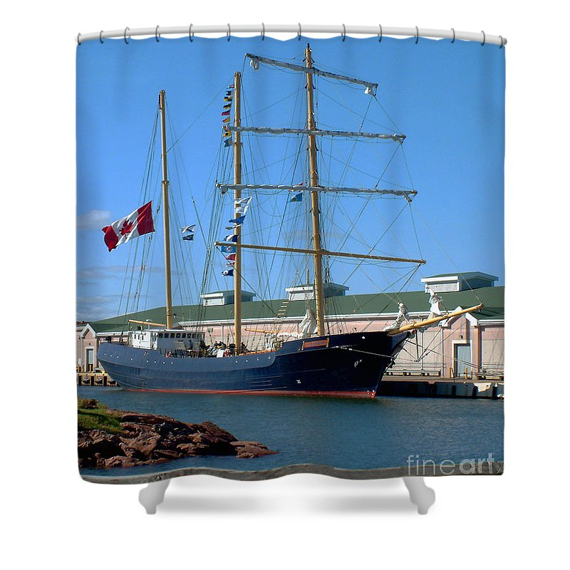 Dock Shower Curtain featuring the photograph Tall Ship Waiting by RC DeWinter