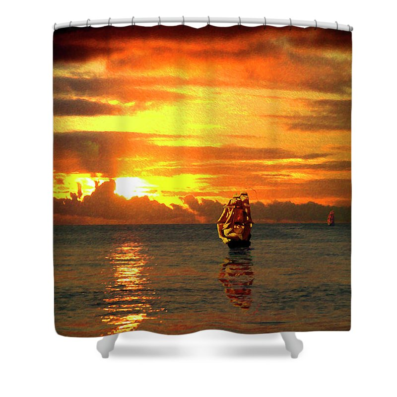 Tall Ships Shower Curtain featuring the digital art Tall Ships And The Trade Route by Barry Blackman