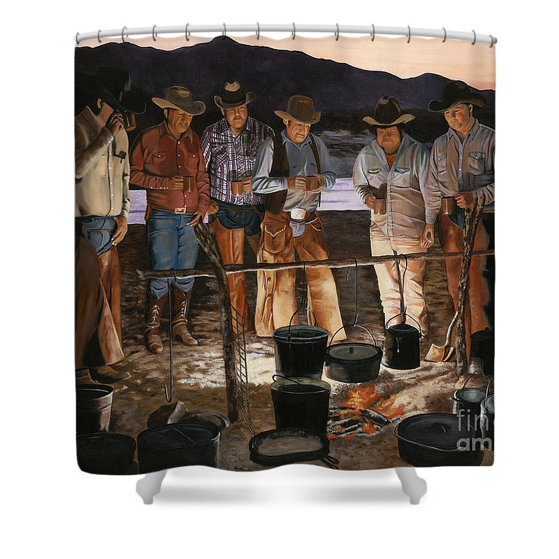 Arizona Shower Curtain featuring the painting Tall Tales by Mary Rogers