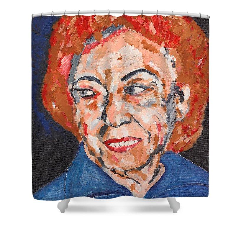 Portrait Shower Curtain featuring the painting Tamara by Valerie Ornstein