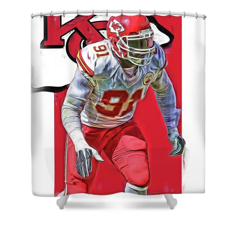 Tamba Hali Shower Curtain Featuring The Mixed Media Kansas City Chiefs Oil Art By