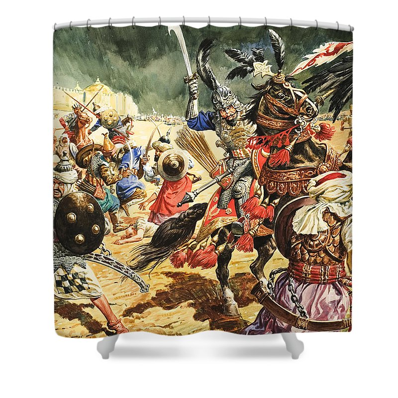 Tamerlane Shower Curtain featuring the painting Tamerlane The Terrible by CL Doughty