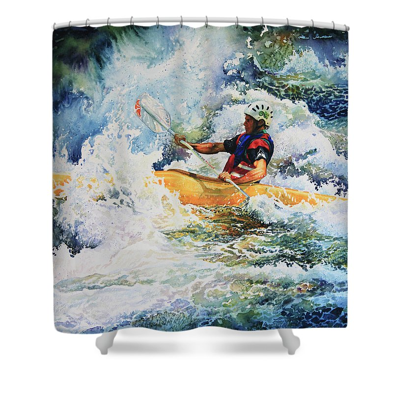 Sports Art Shower Curtain featuring the painting Taming Of The Chute by Hanne Lore Koehler