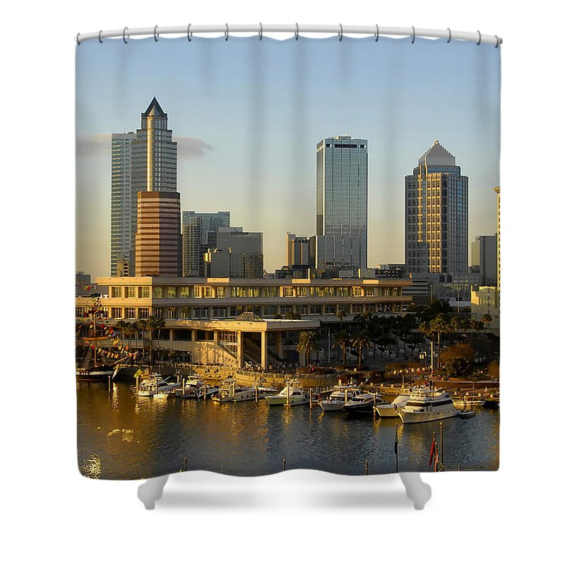 Tampa Bay Florida Shower Curtain featuring the photograph Tampa Bay And Gasparilla by David Lee Thompson