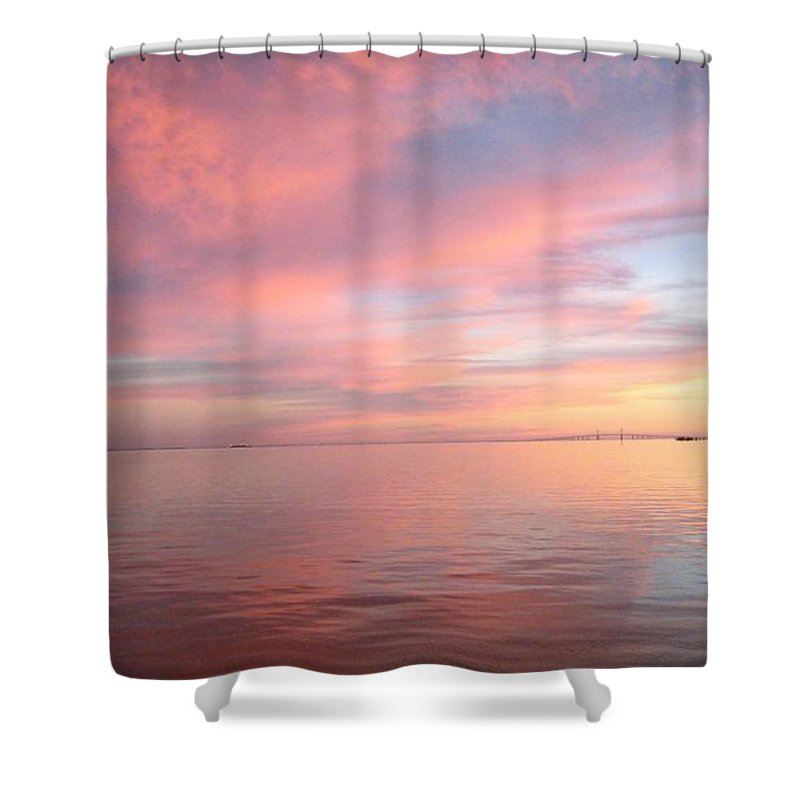 Gulf Of Mexico Shower Curtain featuring the photograph Skyway Sunset by Pope McElvy