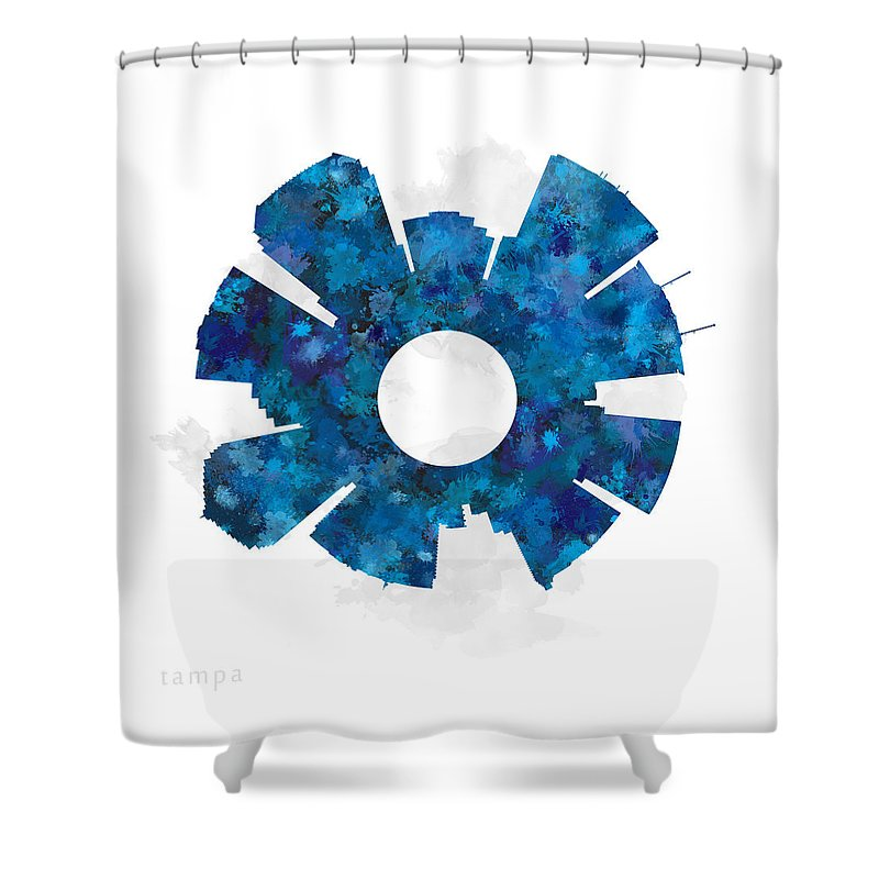 Map Shower Curtain featuring the digital art Tampa Cityscape And Streetmap Skyline Blue by Jurq Studio