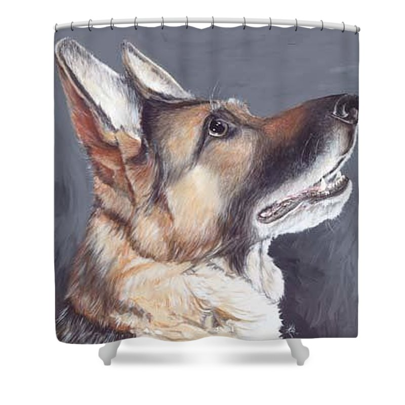 Dogs Artwork Shower Curtain featuring the painting Tan Tan by Keran Sunaski Gilmore