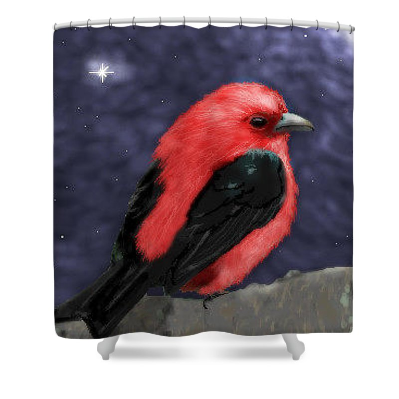 Tanager Shower Curtain featuring the digital art Tanager by Lori Wadleigh