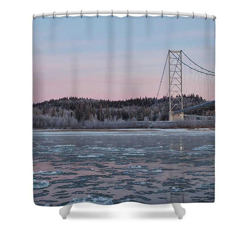 Big Delta Shower Curtain featuring the photograph Tanana River With Pipeline - Early Morning by Cathy Mahnke
