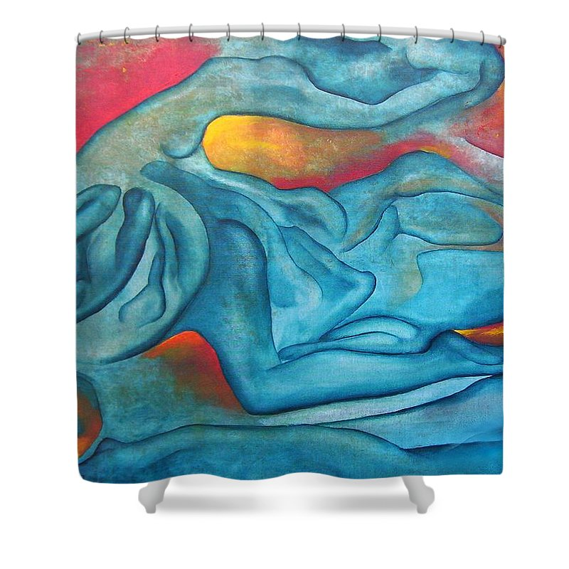 Abstract Blues Love Passion Sensual Earth Shower Curtain featuring the painting Tangled Up by Veronica Jackson