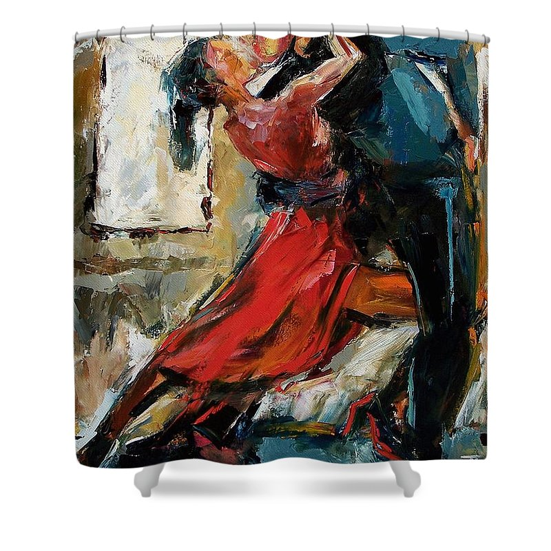 Tango Shower Curtain featuring the painting Tango By The Window by Debra Hurd