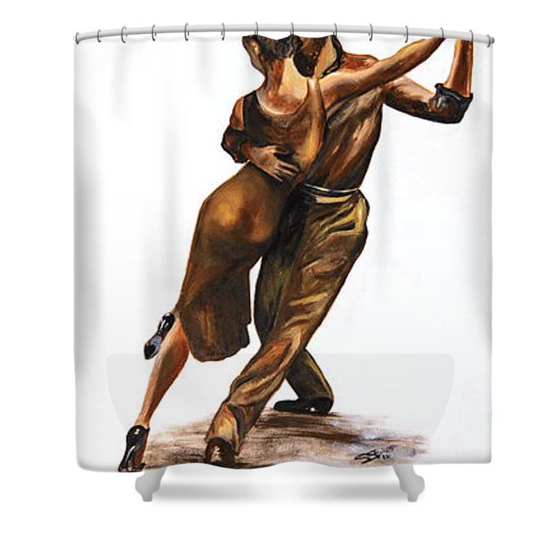Tango Shower Curtain featuring the painting Tango Passion by Suzanne Stokes